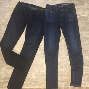Two pairs of AG jeans, worn no tags